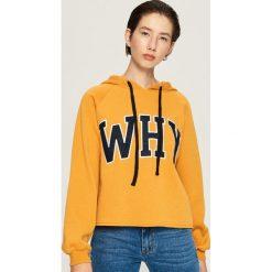 Krótka bluza z kapturem - Żółty. Bluzy damskie marki Sinsay. W wyprzedaży za 39.99 zł.