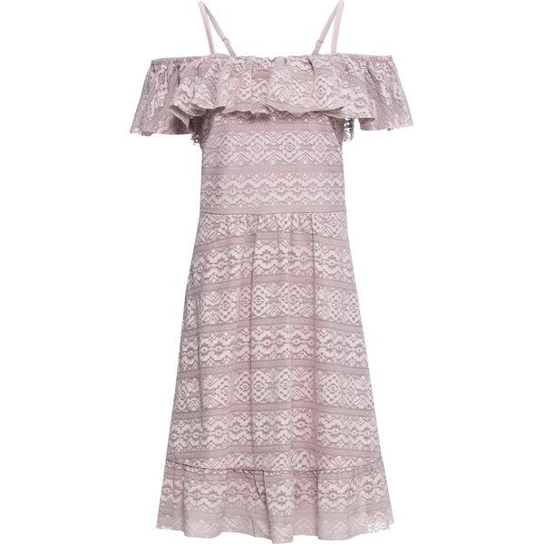 Sukienka off shoulder z koronki bonprix matowy jasnoróżowy