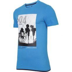 T-shirt męski TSM004 - jasny niebieski. Niebieskie t-shirty męskie 4f, z bawełny. W wyprzedaży za 44.99 zł.