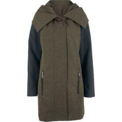 Płaszcz z dużym kołnierzem bonprix czarno-ciemnooliwkowy wzorzysty. Płaszcze damskie marki FOUGANZA. Za 239.99 zł.