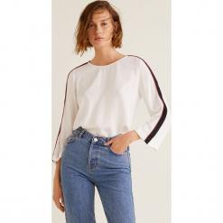 Mango - Bluzka Beauty. Szare bluzki damskie Mango, z aplikacjami, z dzianiny, casualowe, z okrągłym kołnierzem. Za 99.90 zł.