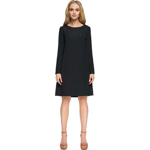 6c52d068de Czarna Sukienka Trapezowa z Długim Rękawem - Sukienki damskie marki ...