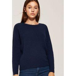 Sweter o ryżowym splocie - Granatowy. Niebieskie swetry damskie House, ze splotem. Za 69.99 zł.