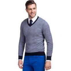 Sweter FABRIZIO Slim SWW000047. Szare swetry przez głowę męskie Giacomo Conti, z wełny. Za 259.00 zł.
