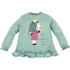 """Koszulka """"Princess"""" w kolorze zielonym. Zielone bluzki dla dziewczynek Bondi, z aplikacjami, z okrągłym kołnierzem, z długim rękawem. W wyprzedaży za 49.95 zł."""