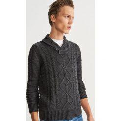 Sweter z domieszką wełny - Szary. Szare swetry przez głowę męskie Reserved, z wełny. Za 159.99 zł.