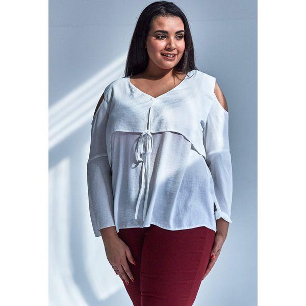 1ed4624314 Nowoczesna bluzka w kolorze ECRU z wiązaniem duże rozmiary OVERSIZE ...