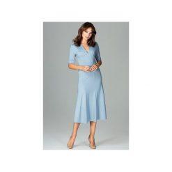 Sukienka K478 Niebieski. Niebieskie sukienki damskie Lenitif, dekolt w kształcie v. Za 179.00 zł.