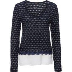 Sweter dzianinowy z wstawką z tkaniny bonprix ciemnoniebiesko-biel wełny. Swetry damskie marki bonprix. Za 79.99 zł.