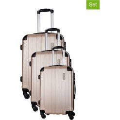 Zestaw walizek w kolorze beżowym - 3 szt. Walizki męskie Platinium, z materiału. W wyprzedaży za 539.95 zł.