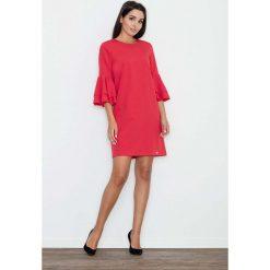 Czerwona Elegancka Sukienka z Hiszpańskim Rękawem. Sukienki damskie Molly.pl, z tkaniny, biznesowe, z okrągłym kołnierzem. Za 149.90 zł.