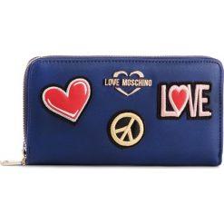Duży Portfel Damski LOVE MOSCHINO - JC5604PP17LJ0750  Blu. Niebieskie portfele damskie Love Moschino, ze skóry ekologicznej. Za 429.00 zł.