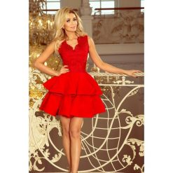 200-4 charlotte - ekskluzywna sukienka z koronkowym dekoltem - czerwon. Czerwone sukienki damskie NUMOCO, z koronki. Za 249.00 zł.
