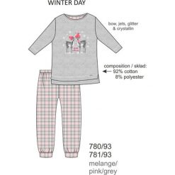 Piżama dziewczęca DR 780/93 Winter day Melanż szara r. 116. Szare bielizna dla dziewczynek Cornette, melanż. Za 51.73 zł.
