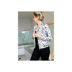 Damska bluza z nadrukiem, bluza z suwakiem w kwiaty, damska bluza dresowa. Szare bluzy damskie Ekoszale, w kwiaty, z dresówki. Za 170.00 zł.