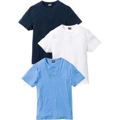 T-shirt (3 szt.) bonprix niebieski + biały + ciemnoniebieski. Niebieskie t-shirty męskie bonprix. Za 98.97 zł.
