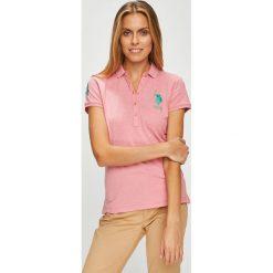 U.S. Polo - Top. Różowe topy damskie U.S. Polo, z bawełny, polo, z krótkim rękawem. W wyprzedaży za 159.90 zł.