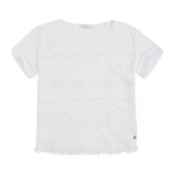 T-shirt w kolorze białym. Białe t-shirty damskie Pepe Jeans, z okrągłym kołnierzem. W wyprzedaży za 109.95 zł.