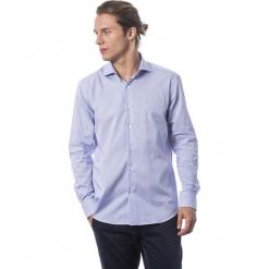 Koszula w kolorze chabrowym. Niebieskie koszule męskie Roberto Cavalli, Trussardi, w paski, z klasycznym kołnierzykiem. W wyprzedaży za 324.95 zł.