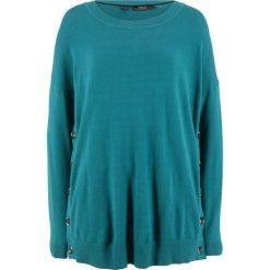 Sweter z plisą guzikową z boku bonprix kobaltowo-turkusowy. Swetry damskie marki bonprix. Za 59.99 zł.