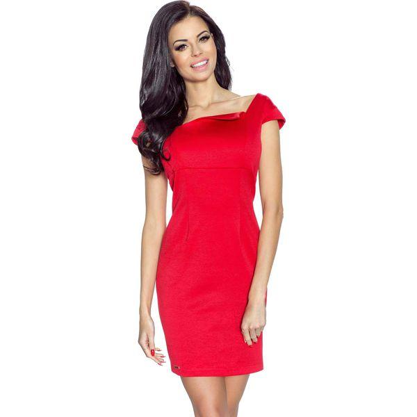 5cc5cfcd75 Czerwona Sukienka Mini z Dekoltem Karo - Sukienki damskie marki ...