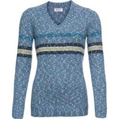 Sweter z dekoltem w serek bonprix niebieski w paski. Niebieskie swetry damskie bonprix, z dekoltem w serek. Za 59.99 zł.