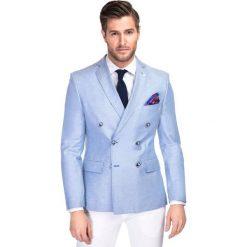 Marynarka BASILIO MANS000144. Niebieskie marynarki męskie Giacomo Conti, w kolorowe wzory, z tkaniny. Za 799.00 zł.