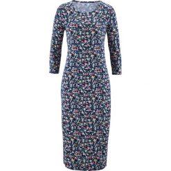 Sukienka z rękawami 3/4 bonprix ciemnoniebieski w kwiaty. Sukienki damskie marki DOMYOS. Za 79.99 zł.