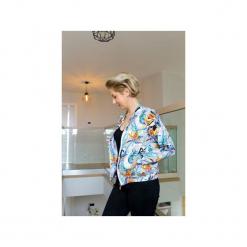 Damska bluza bomberka, bluza dzianinowa w kwiaty i liście, kolorowa bluza. Szare bluzy damskie Ekoszale, w kolorowe wzory, z dresówki. Za 170.00 zł.