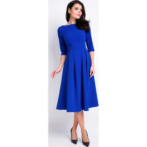 3deb60ba Niebieska Sukienka Wizytowa Midi z Szerokim Dołem