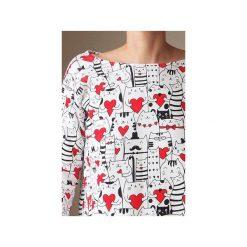 Bluza pudełko tunika w zakochane koty. Białe bluzy damskie One mug a day, z bawełny. Za 169.00 zł.