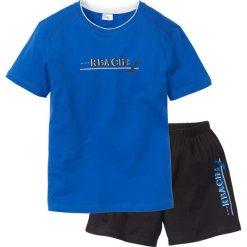 Piżama z krótkimi spodenkami bonprix lazurowo-czarny. Niebieskie piżamy męskie bonprix, z krótkim rękawem. Za 34.99 zł.