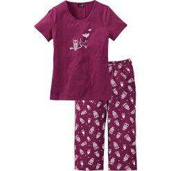 Piżama z krótkim rękawem i spodniami 3/4 bonprix jeżynowo-biały. Białe piżamy damskie bonprix, z krótkim rękawem. Za 54.99 zł.