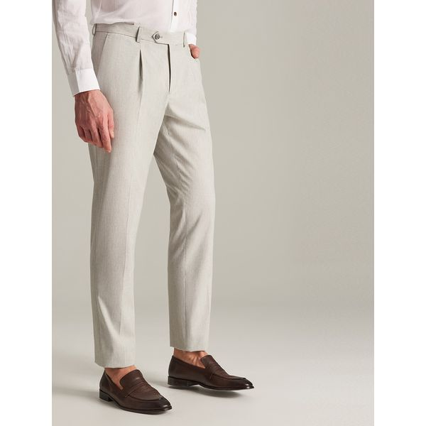 23374ae83a75b Spodnie garniturowe z lnem - Jasny szary - Eleganckie spodnie męskie ...