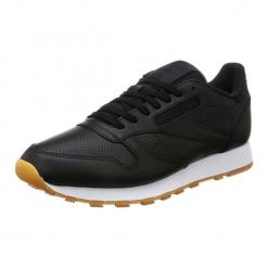 Skórzane buty sportowe w kolorze czarnym. Czarne buty sportowe męskie Adidas, Reebok, ze skóry. W wyprzedaży za 272.95 zł.