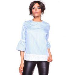 """Koszulka """"Kelly"""" w kolorze błękitnym. T-shirty damskie La Belle Française, w paski, z okrągłym kołnierzem. W wyprzedaży za 152.95 zł."""