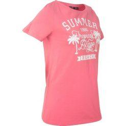 T-shirt z szerokim okrągłym dekoltem, krótki rękaw bonprix jasnoróżowy z nadrukiem. T-shirty damskie marki DOMYOS. Za 44.99 zł.