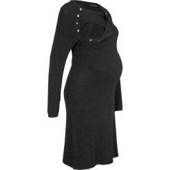 Sukienka dzianinowa ciążowa i do karmienia bonprix antracytowy melanż. Szare sukienki damskie bonprix, melanż, z dzianiny, z okrągłym kołnierzem. Za 79.99 zł.