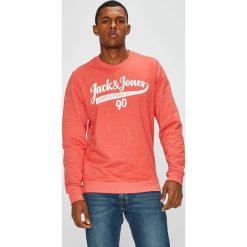 Jack & Jones - Bluza. Różowe bluzy męskie Jack & Jones, z nadrukiem, z bawełny. W wyprzedaży za 79.90 zł.