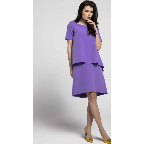 20ade6868d Fioletowa Trapezowa Sukienka z Asymetryczną Nakładką - Sukienki ...