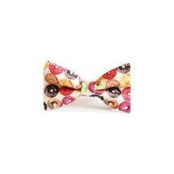 Mucha Donut. Różowe krawaty i muchy Edyta kleist, w paski, z tkaniny, eleganckie. Za 99.00 zł.