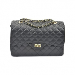 Skórzana torebka w kolorze ciemnoszarym - (S)33 x (W)22 x (G)12 cm. Szare torby na ramię damskie Akcesoria na sylwestrową noc. W wyprzedaży za 369.95 zł.