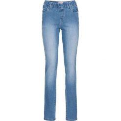 Wygodne jegginsy bonprix średni niebieski. Niebieskie legginsy damskie bonprix, z jeansu. Za 74.99 zł.