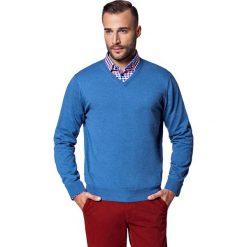 Sweter Niebieski Robin. Niebieskie kardigany męskie LANCERTO, z bawełny. W wyprzedaży za 149.90 zł.
