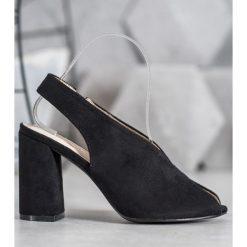 Czarne buty na słupku, bez zapięcia Kolekcja lato 2020