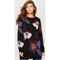 Żakardowy sweter w kwiaty retro - Czarny. Czarne swetry damskie Mohito, z żakardem. Za 179.99 zł.