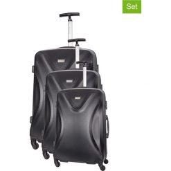 Zestaw walizek w kolorze czarnym - 3 szt. Walizki męskie Platinium, z materiału. W wyprzedaży za 689.95 zł.