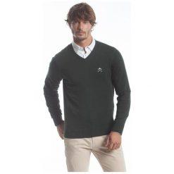 Polo Club C.H..A Sweter Męski M Ciemnozielony. Czarne swetry przez głowę męskie Polo Club C.H..A, dekolt w kształcie v. W wyprzedaży za 259.00 zł.