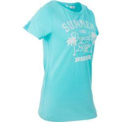 T-shirt z szerokim okrągłym dekoltem, krótki rękaw bonprix morski z nadrukiem. T-shirty damskie marki DOMYOS. Za 44.99 zł.