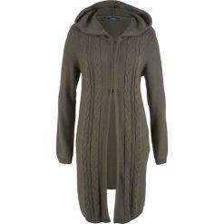 Długi sweter rozpinany z kapturem bonprix ciemnooliwkowy. Zielone kardigany damskie bonprix. Za 89.99 zł.